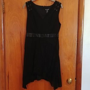 Gothic style black lace abd faux leather dress